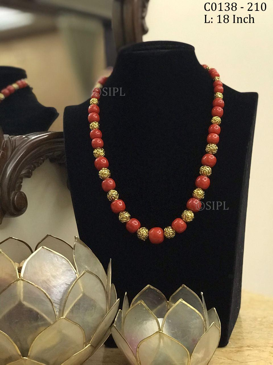 Beautiful Handmade Coral Color Stone Mala