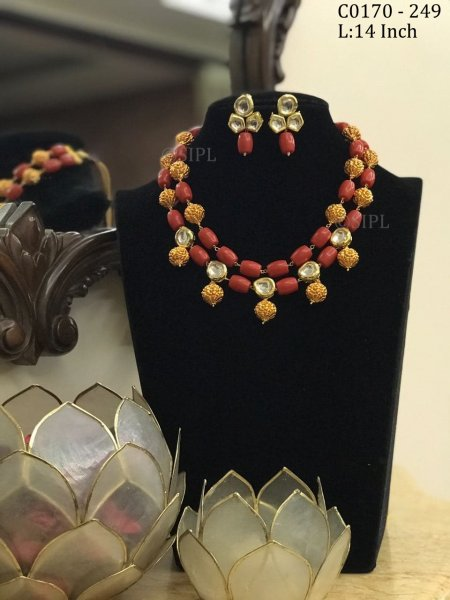 Beautiful Handmade Coral Color Stone Mala Set