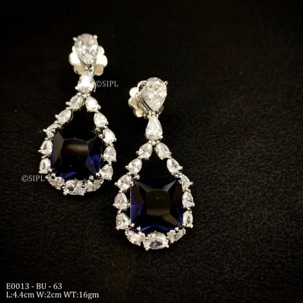 Designer Square Dangling Real Look AD Earring