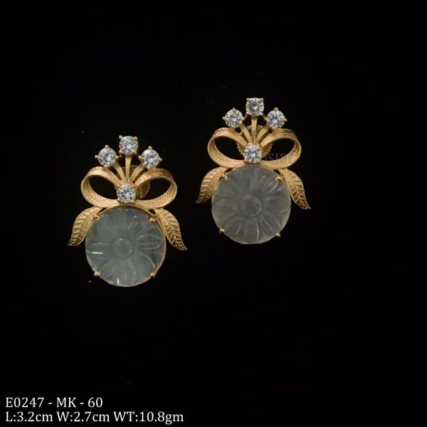 Beautiful Carved Stone Earring