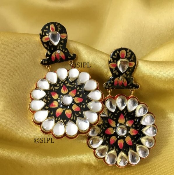 Handmade Kundan Meena Earrings