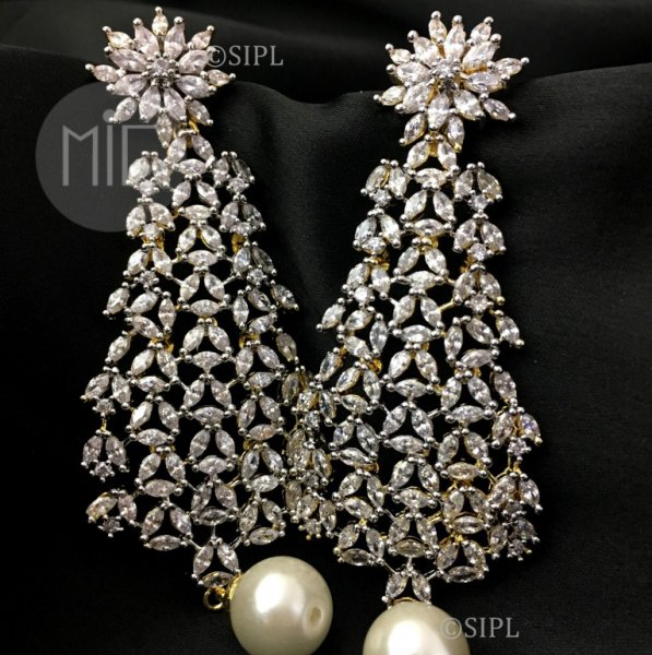 Beautiful American Diamond Long Earrings
