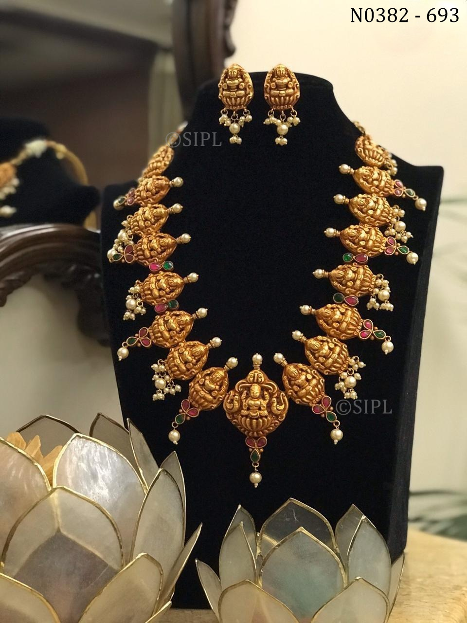Goddess Laxmi Temple Necklace Set