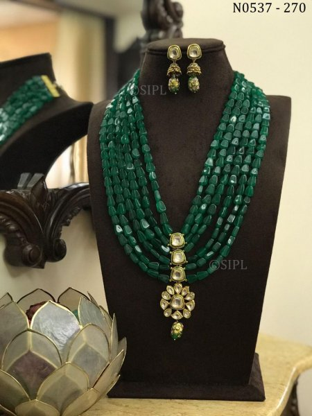 Beautiful Kundan Meenakari Long Necklace Set