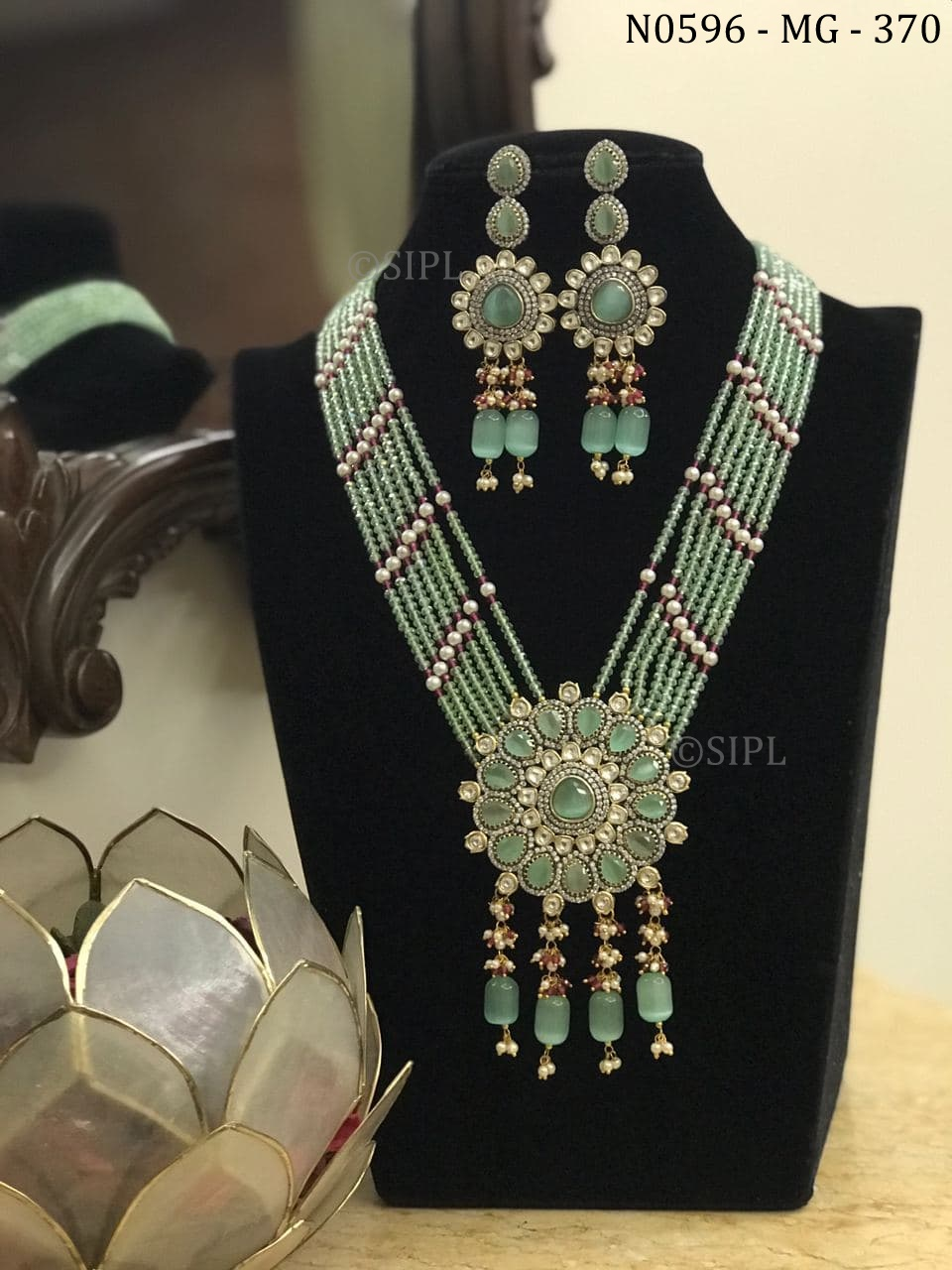 Beautiful Classic Design Colored Stone Necklace Set