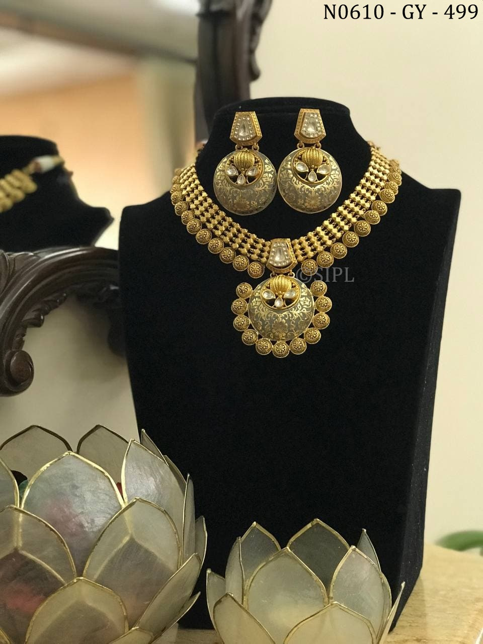 Beautiful Gold Plated Meenakari Southern Design Necklace Set