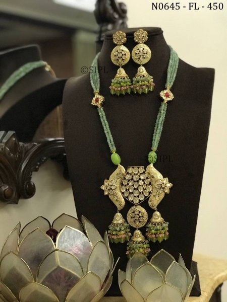 Designer Long Kundan Polki Necklace Set