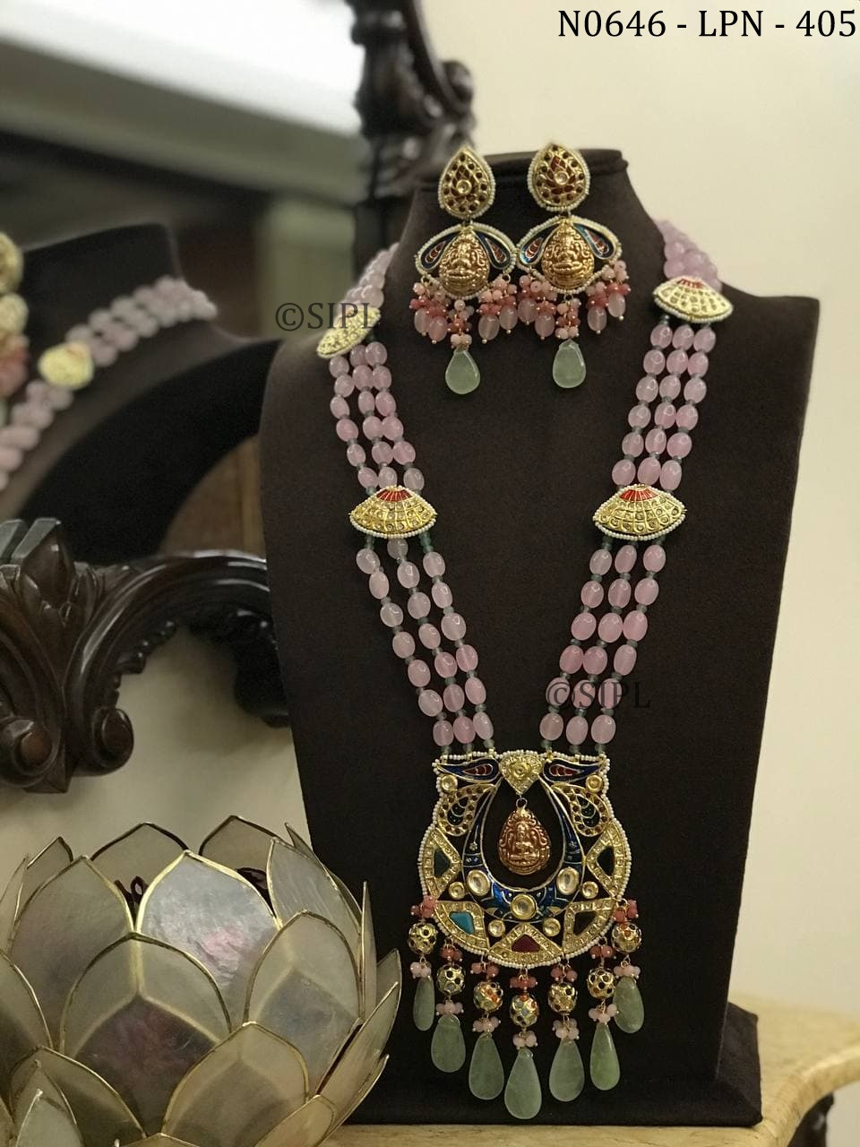 Beautiful Navratan Style Temple Jewellery Set