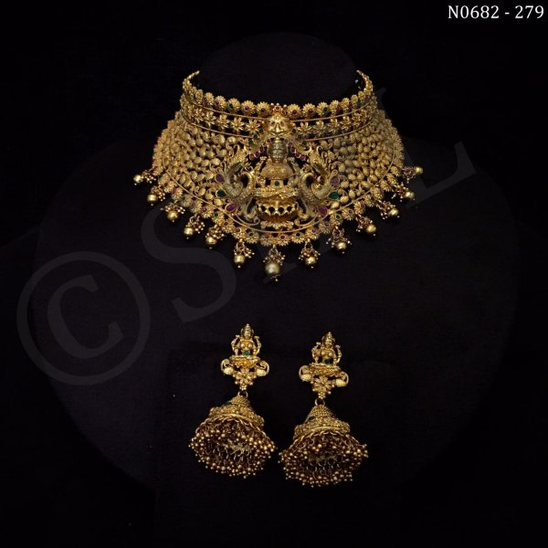 Beautiful Goddess Laxmi Temple Necklace Set