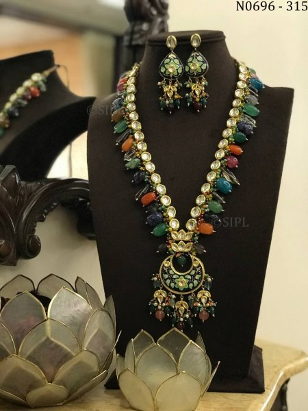 Amazing Handmade Meenakari Long Necklace Set