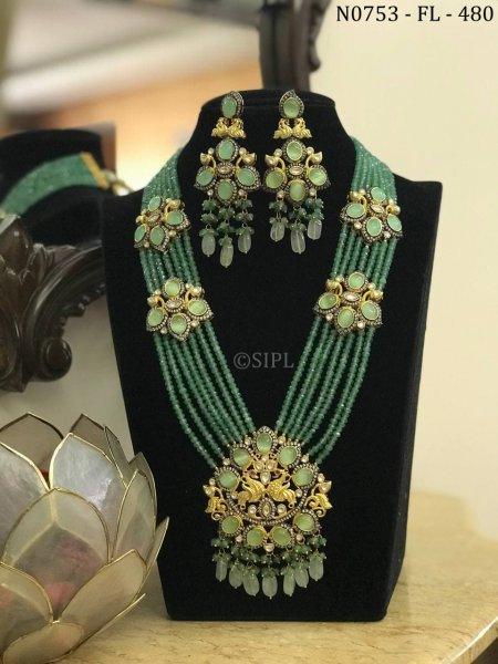 Amazing Peacock Design Long Necklace Set