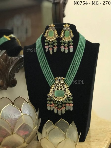 Beautiful Gold Plated Long Kundan Necklace Set