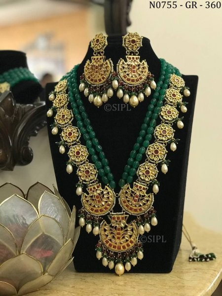 Exclusive Designer Long Kundan Necklace Set