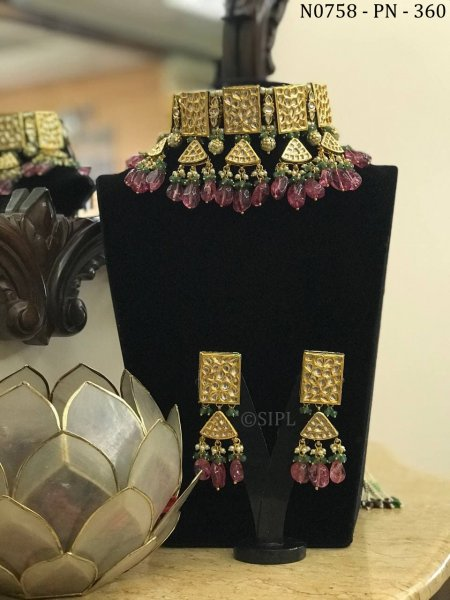 Beautiful Indian Traditional Kundan Necklace Set