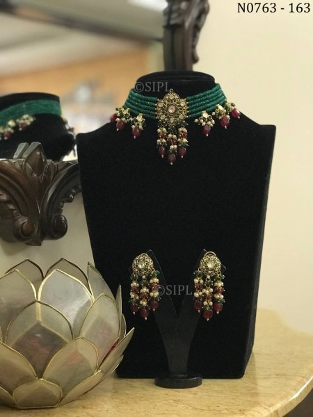 Beautiful Handmade Navratan Choker Set