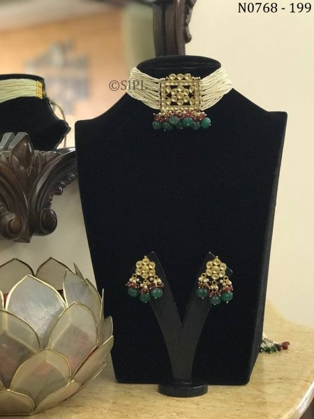 Classical Design Gold Plated Polki Choker Set