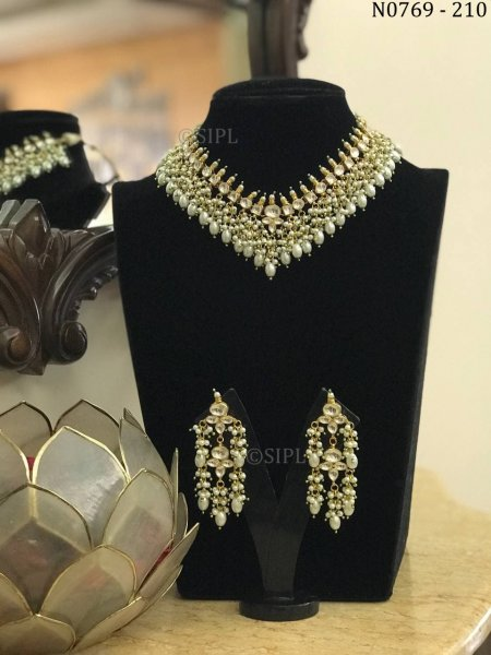 Kundan polki jadau handmade design necklace set