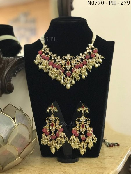 Amazing Design Kundan Polki Designer Necklace Set