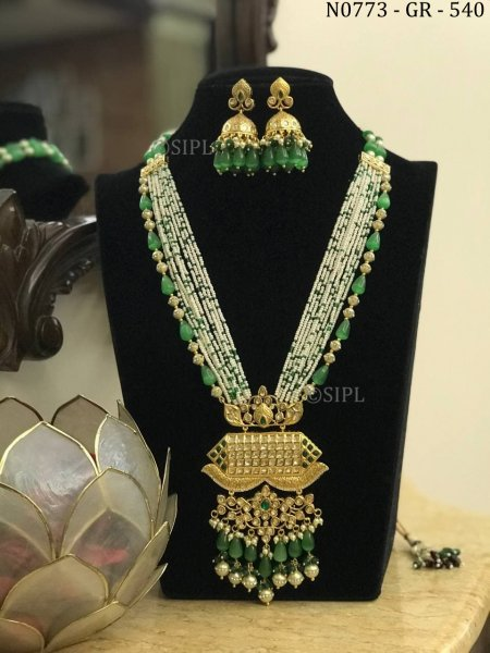 Luxury Design High Quality Long Kundan Necklace Set