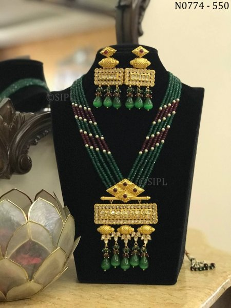 Beautiful Indian Traditional Kundan Polki Jewellery Set