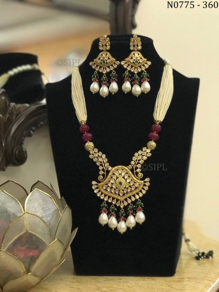 Amazing Design Kundan Polki Long Necklace Set