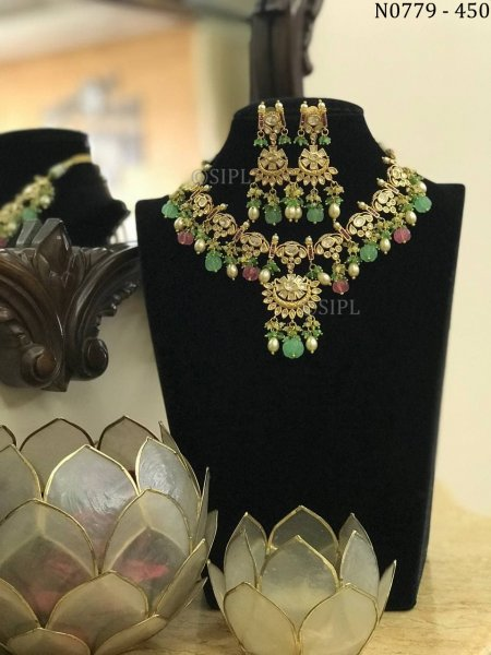 Luxury Design Kundan Polki Real Look Necklace Set