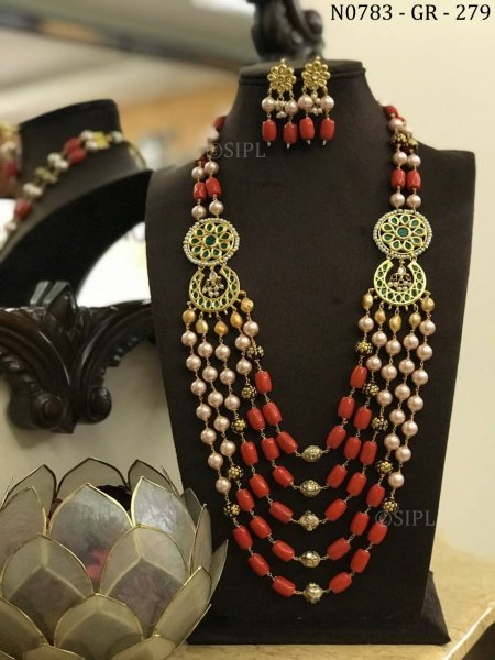 Classic Design Coral Color Kundan Necklace Set