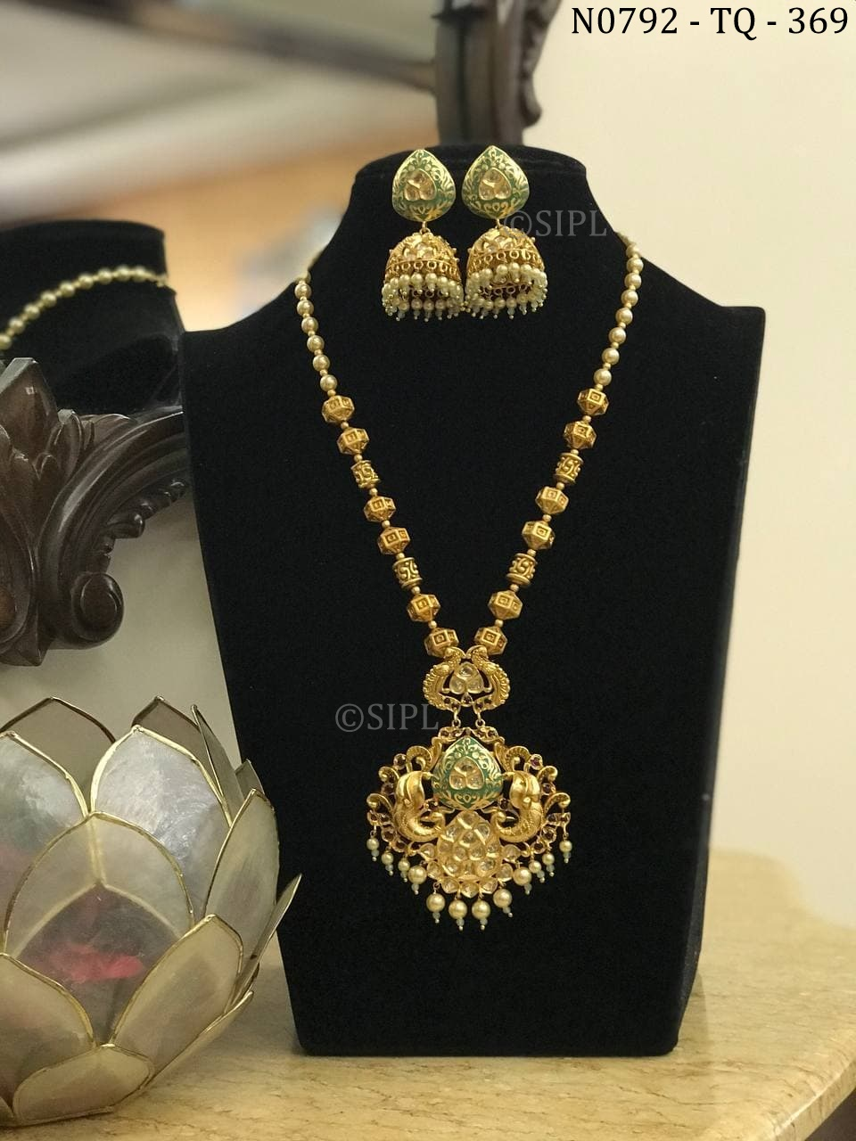 Amazing Design Kundan Polki Southern Style Necklace Set