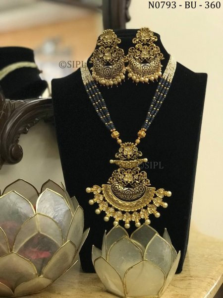 Amazing Design Kundan Meenakari Long Necklace Set