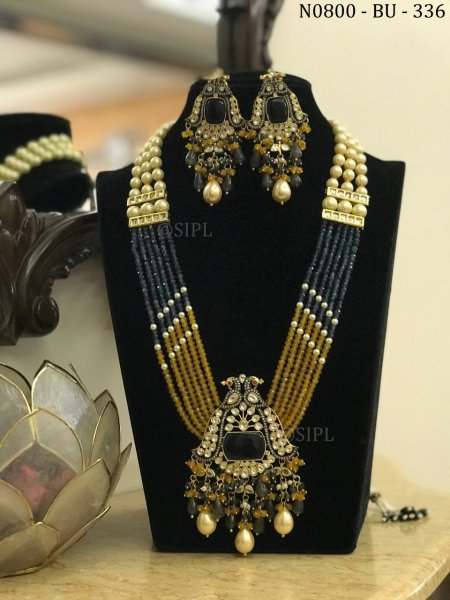 Luxury Design Colored Stone Long Necklace Set