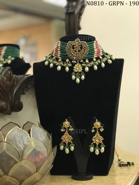 Beautiful Design Kundan Meenakari Choker Set