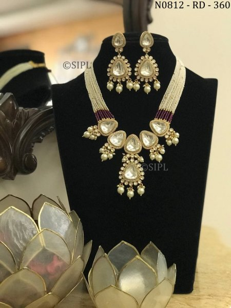 Classical Design Gold Plated Kundan Polki Necklace Set
