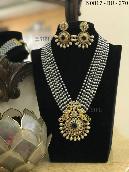Classic Peacock Design Long Necklace Set