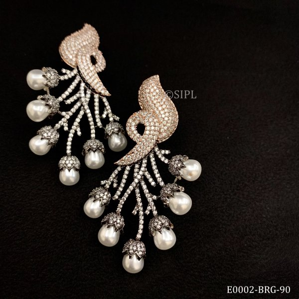 Designer AD & Pearl Earrings